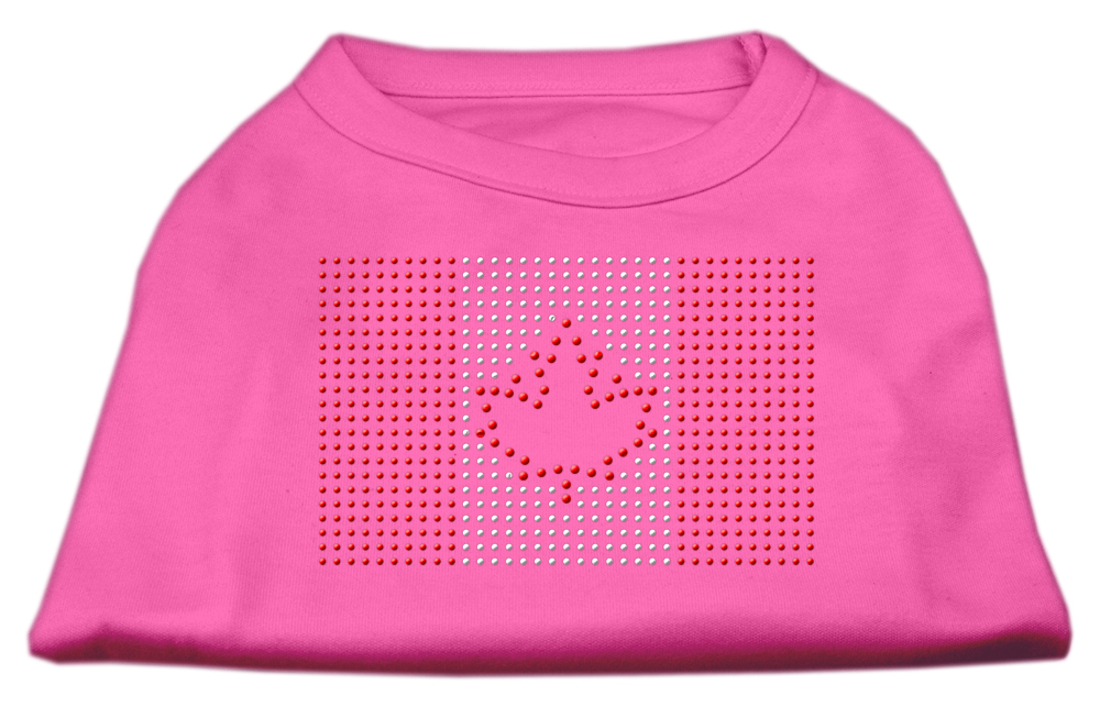 Canadian Flag Rhinestone Shirts Bright Pink S (10)