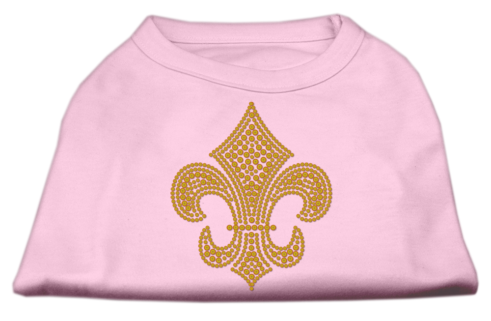 Gold Fleur De Lis Rhinestone Shirts Light Pink XXXL(20)