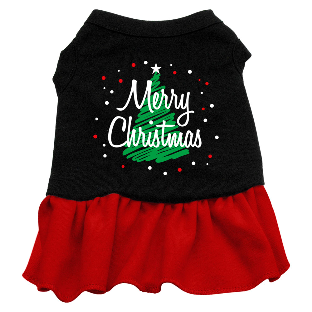 Scribble Merry Christmas Screen Print Dress Black with Red XS (8)