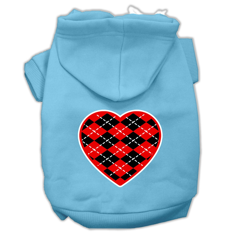Argyle Heart Red Screen Print Pet Hoodies Baby Blue Size XL (16)