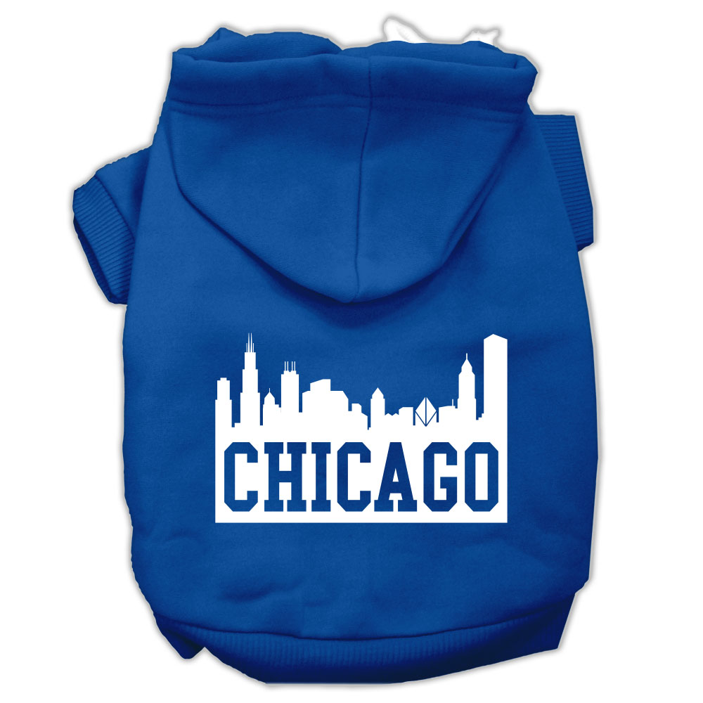 Chicago Skyline Screen Print Pet Hoodies Blue Size XXL (18)