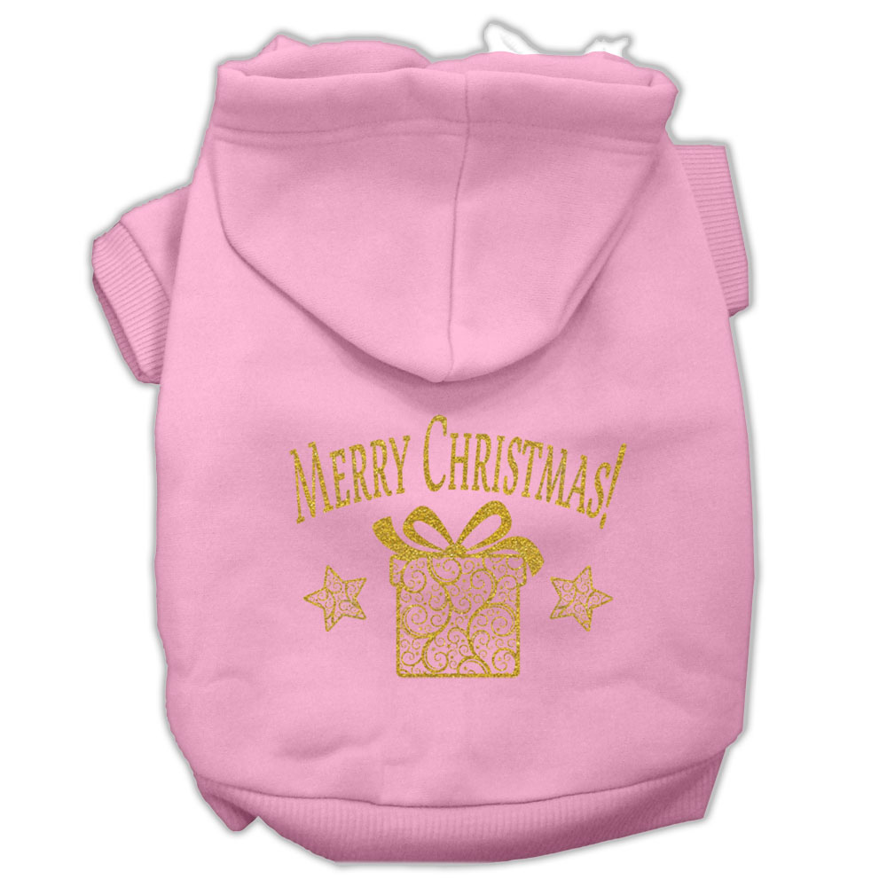 Golden Christmas Present Pet Hoodies Light Pink Size XXL (18)