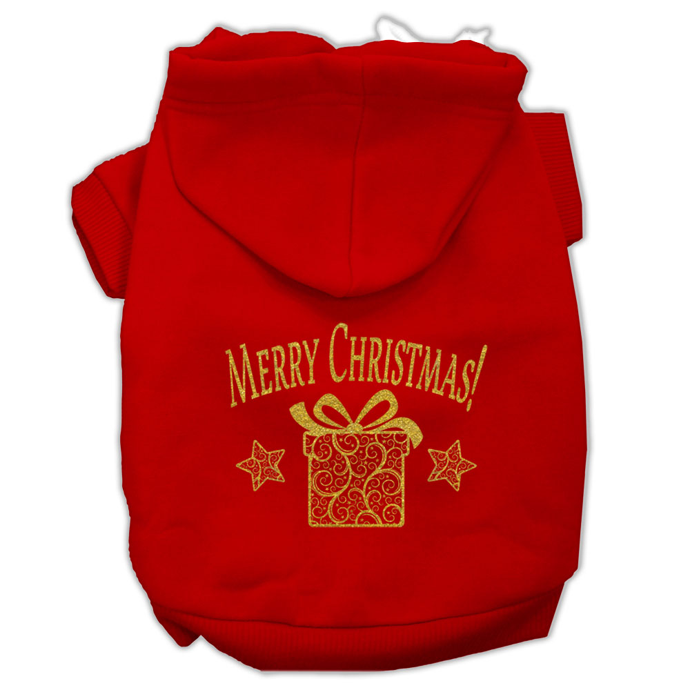 Golden Christmas Present Pet Hoodies Red Size XS (8)