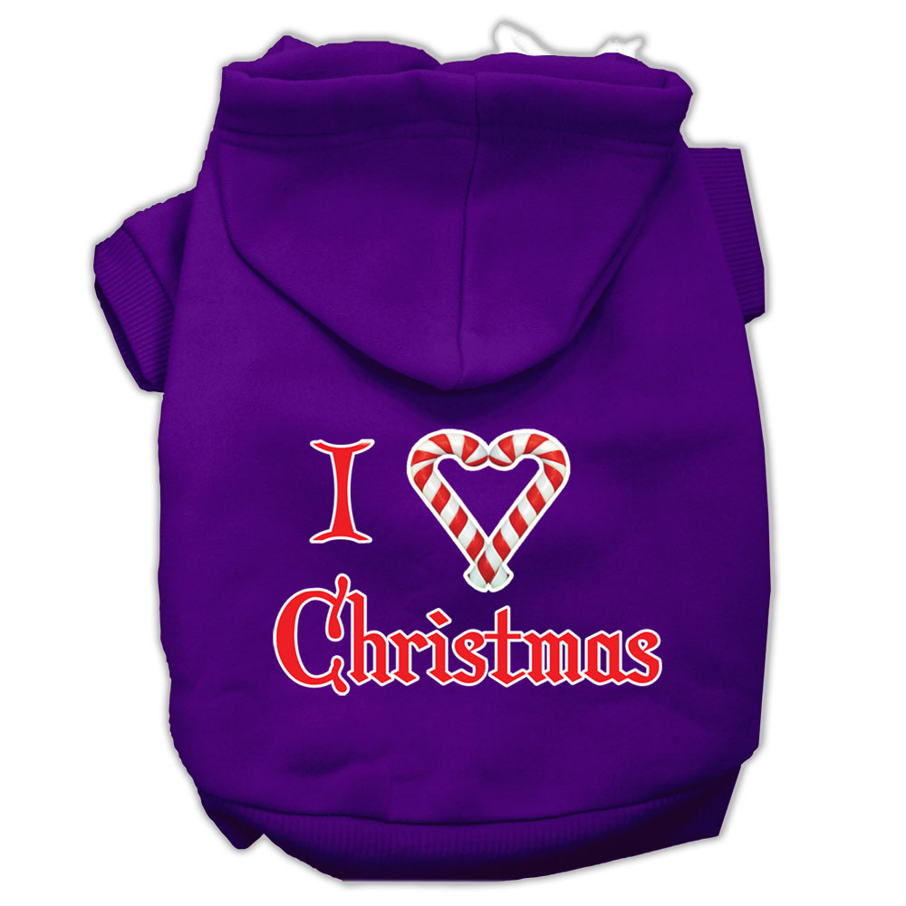I Heart Christmas Screen Print Pet Hoodies Purple Size Lg (14)