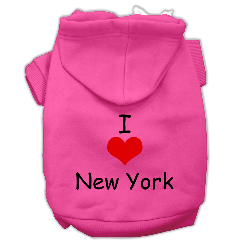 I Love New York Screen Print Pet Hoodies Bright Pink Size XXXL (20)