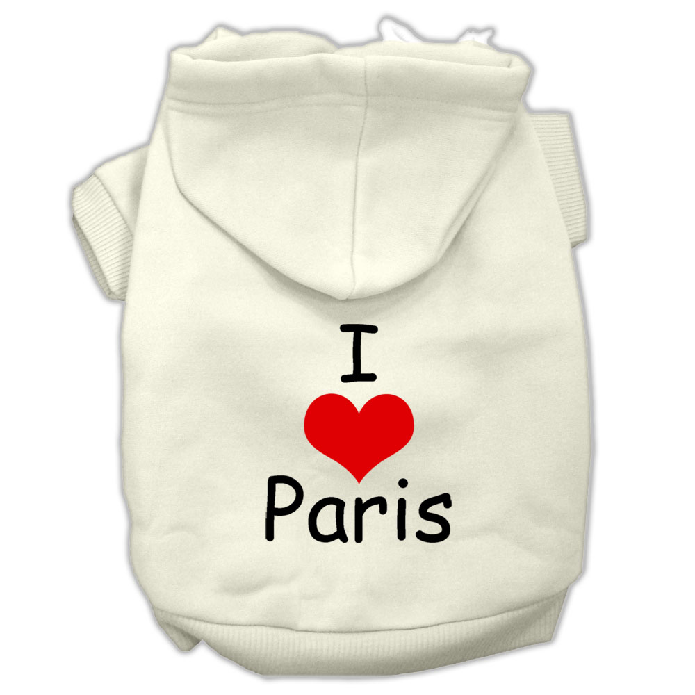 I Love Paris Screen Print Pet Hoodies Cream Size Lg (14)