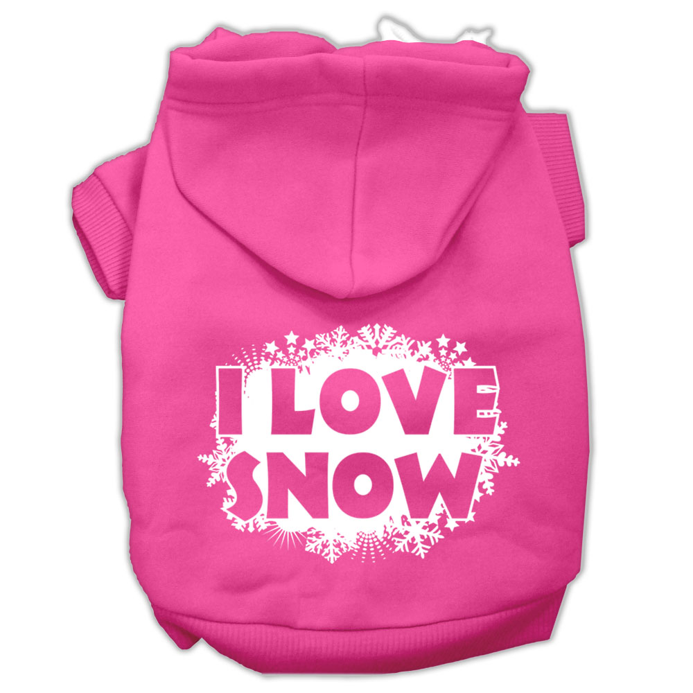 I Love Snow Screenprint Pet Hoodies Bright Pink Size XS (8)