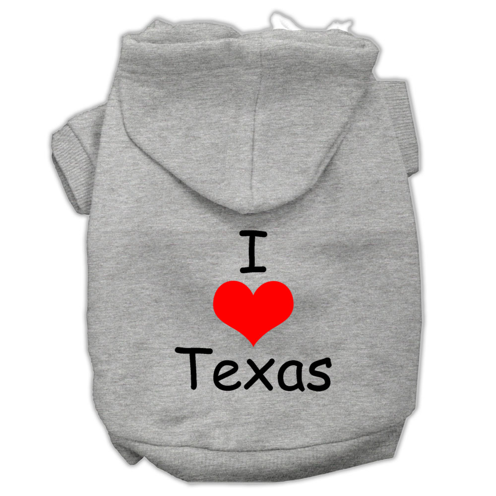 I Love Texas Screen Print Pet Hoodies Grey Size XXL (18)