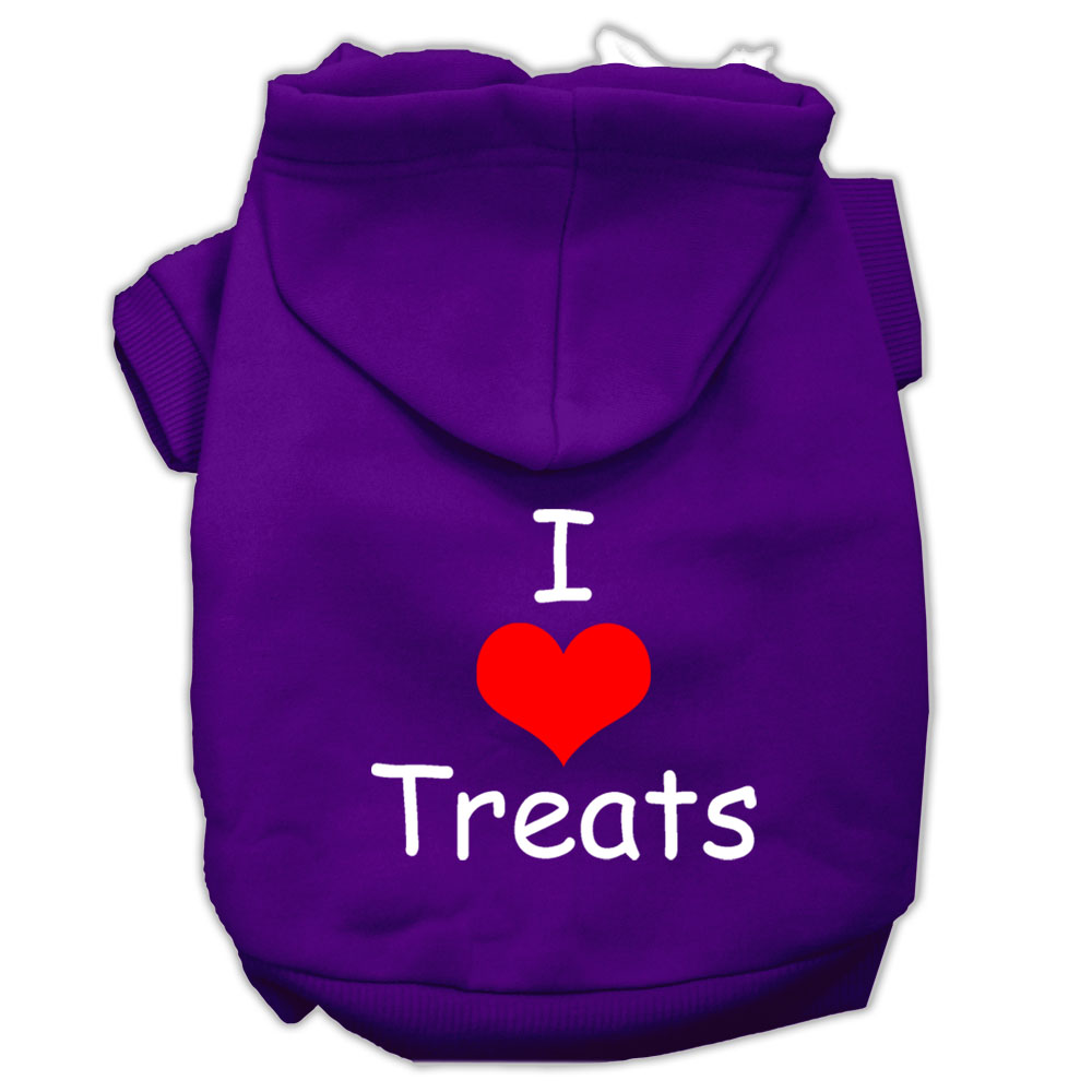 I Love Treats Screen Print Pet Hoodies Purple Size Lg (14)