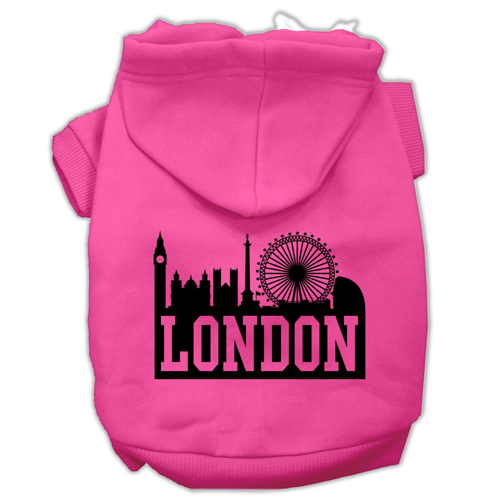 London Skyline Screen Print Pet Hoodies Bright Pink Size Lg (14)