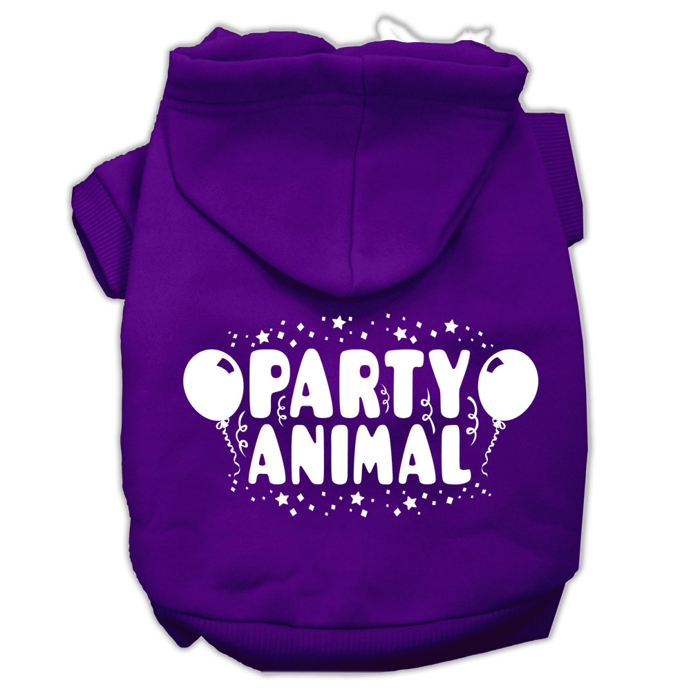 Party Animal Screen Print Pet Hoodies Purple Size Med (12)