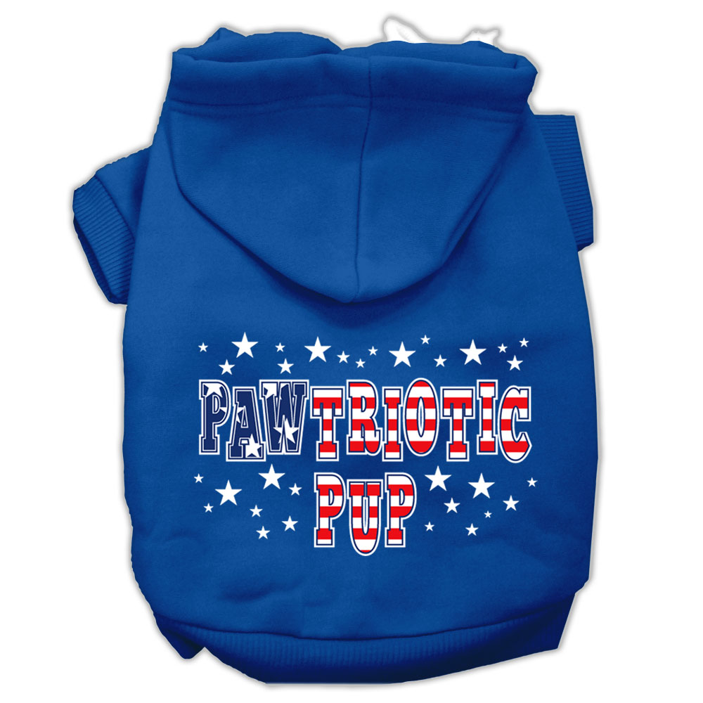 Pawtriotic Pup Screen Print Pet Hoodies Blue Size XS (8)