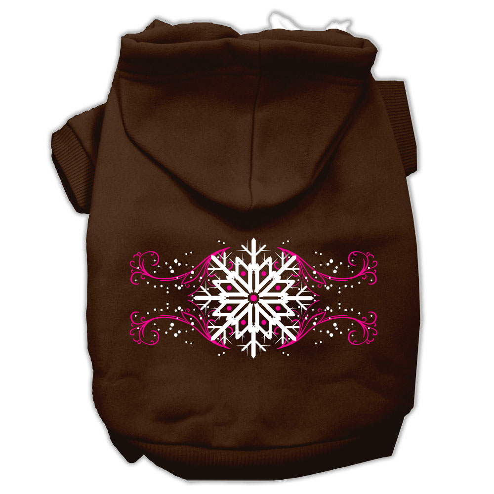 Pink Snowflake Swirls Screenprint Pet Hoodies Brown Size XXL (18)
