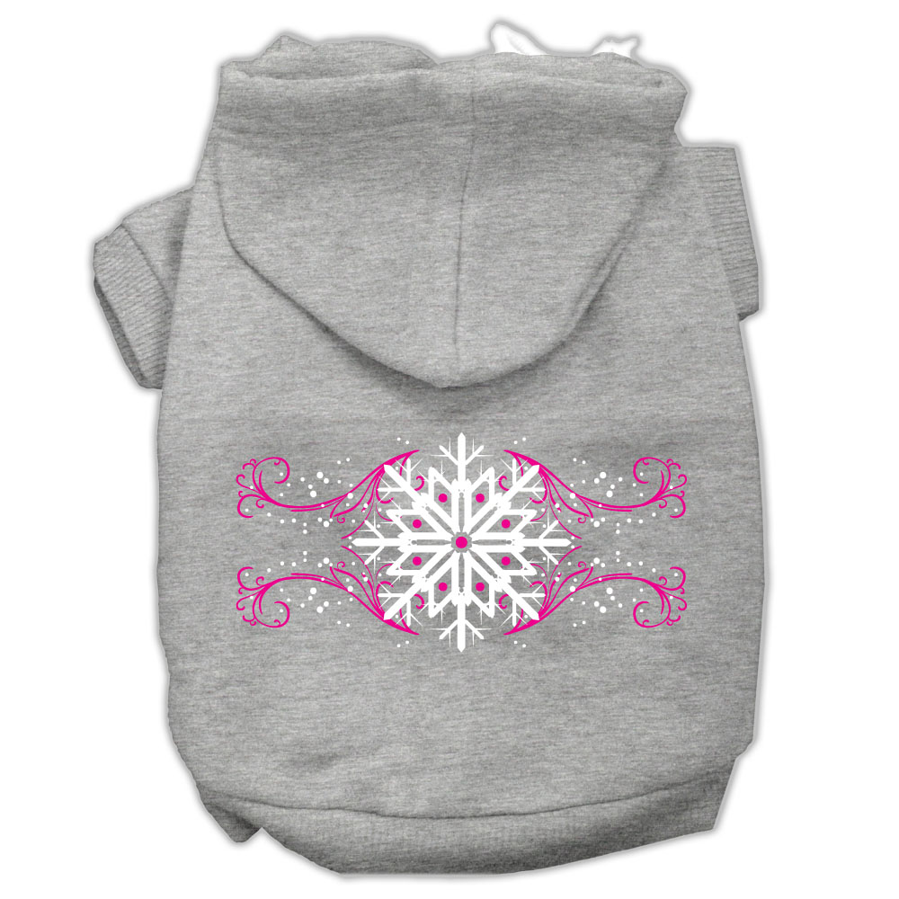 Pink Snowflake Swirls Screenprint Pet Hoodies Grey Size XL (16)