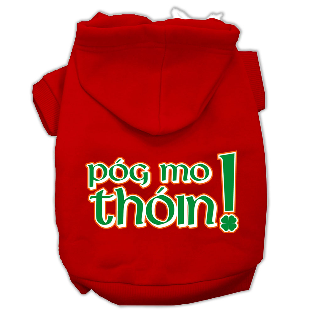 Pog Mo Thoin Screen Print Pet Hoodies Red Size Med (12)