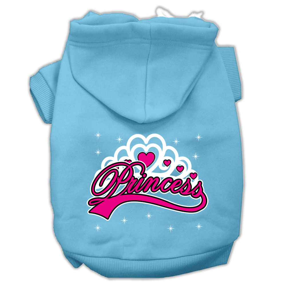 I'm a Princess Screen Print Pet Hoodies Baby Blue Size Sm (10)