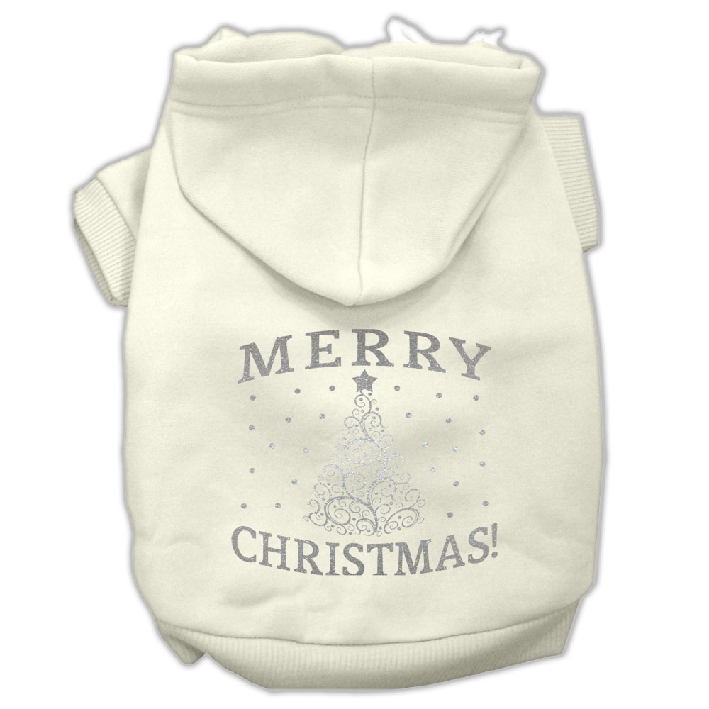 Shimmer Christmas Tree Pet Hoodies Cream Size Lg (14)