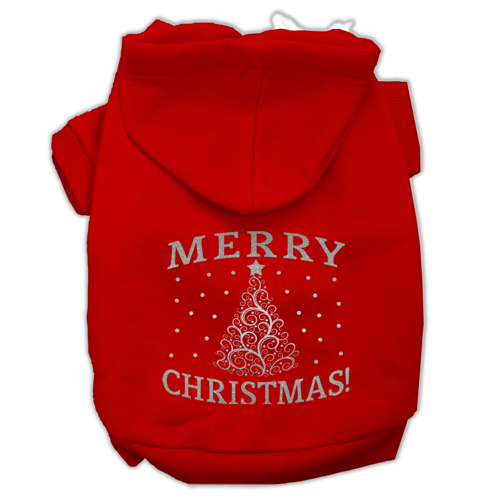 Shimmer Christmas Tree Pet Hoodies Red Size XS (8)