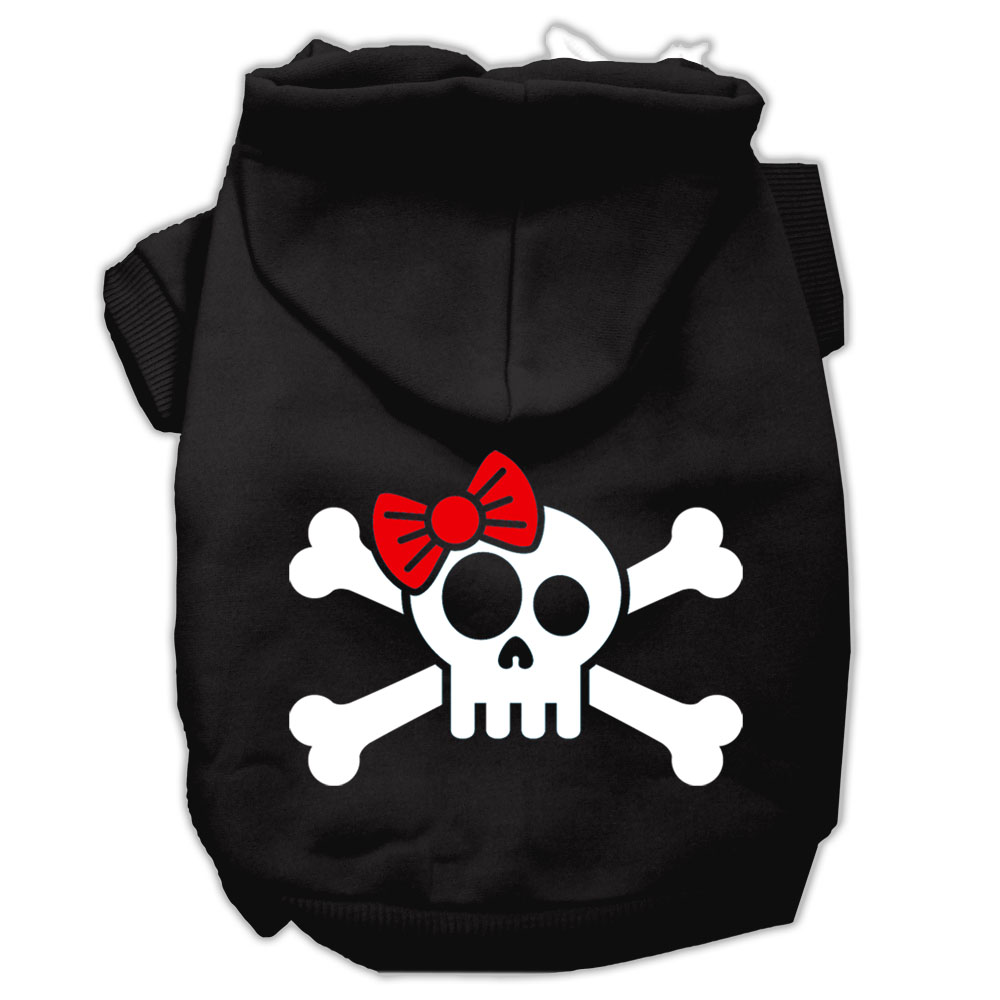 Skull Crossbone Bow Screen Print Pet Hoodies Black Size XL (16)