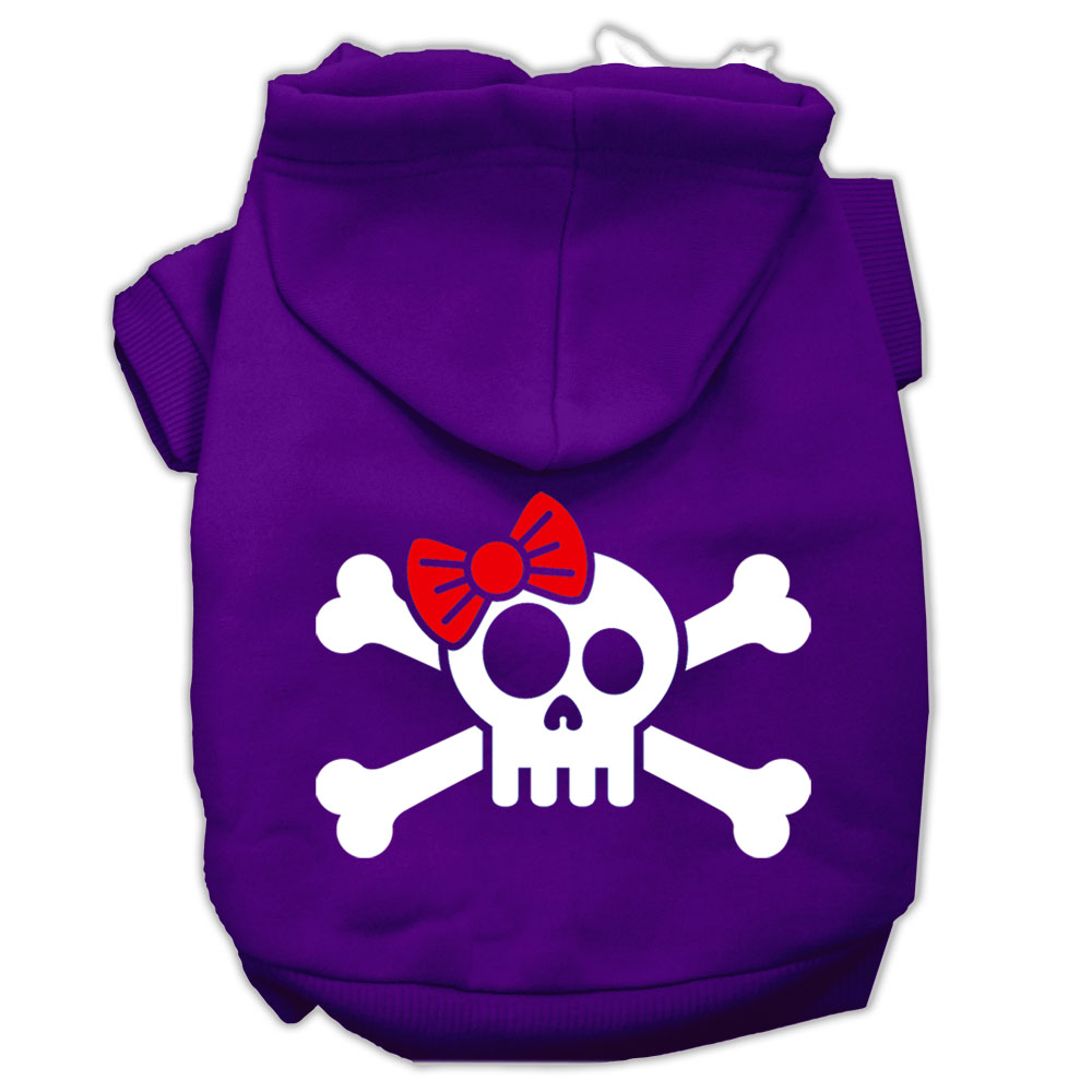 Skull Crossbone Bow Screen Print Pet Hoodies Purple Size XS (8)