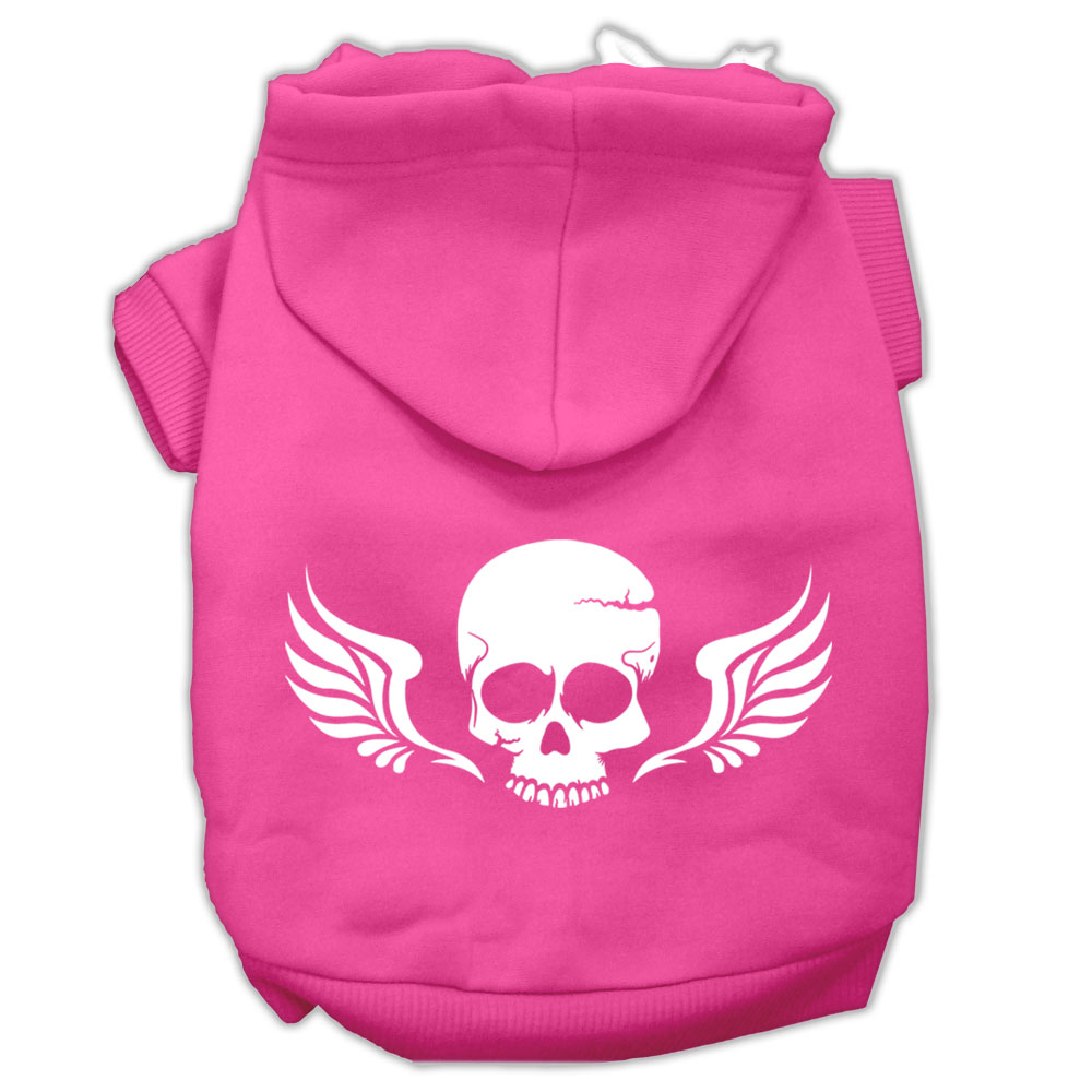 Skull Wings Screen Print Pet Hoodies Bright Pink Size Med (12)