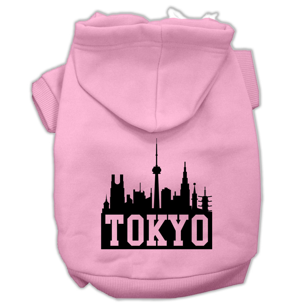 Tokyo Skyline Screen Print Pet Hoodies Light Pink Size XXL (18)