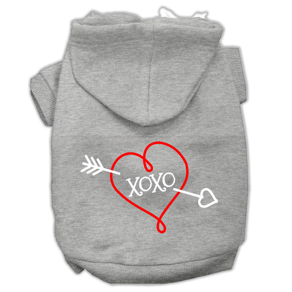 XOXO Screen Print Pet Hoodies Grey Size XS (8)