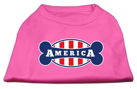 Bonely in America Screen Print Shirt Bright Pink Lg (14)