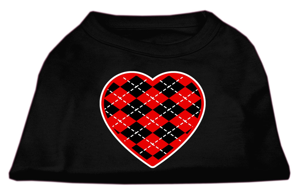 Argyle Heart Red Screen Print Shirt Black XXXL (20)
