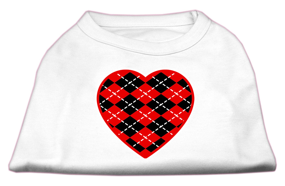 Argyle Heart Red Screen Print Shirt White XXXL(20)