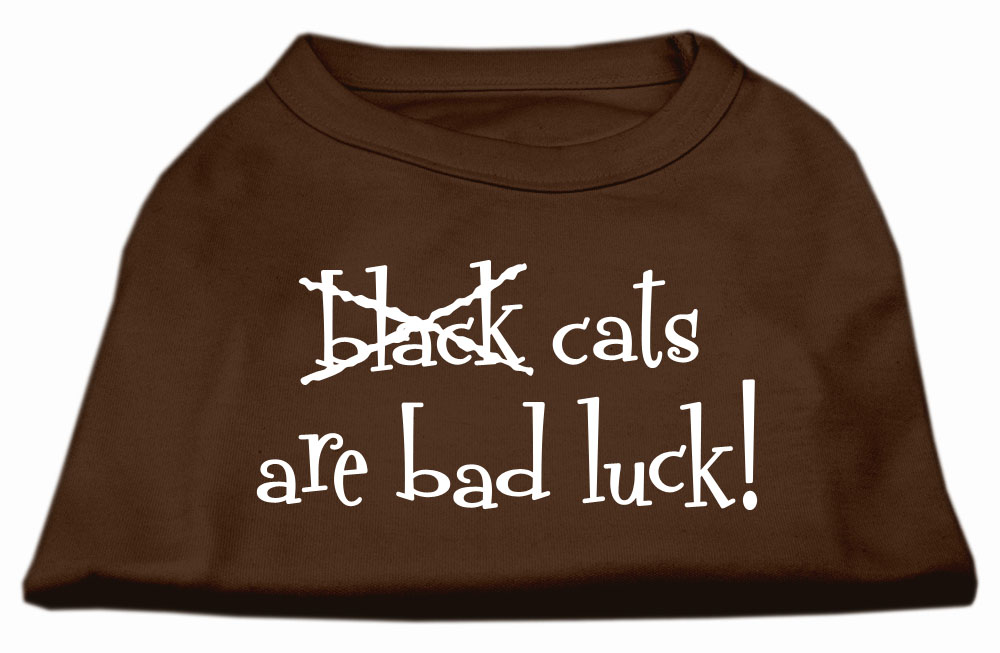 Black Cats are Bad Luck Screen Print Shirt Brown XS (8)