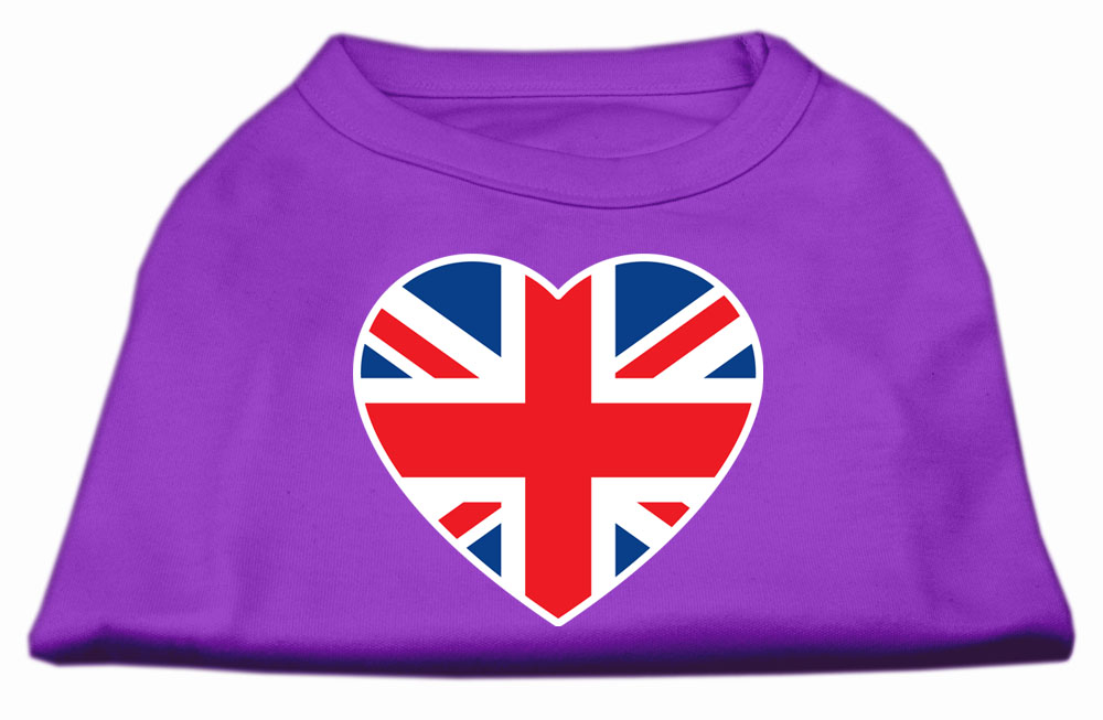 British Flag Heart Screen Print Shirt Purple XXXL (20)