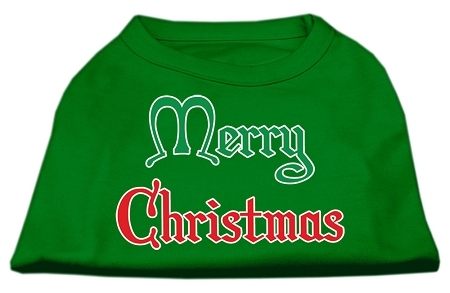 Merry Christmas Screen Print Shirt Emerald Green XL (16)