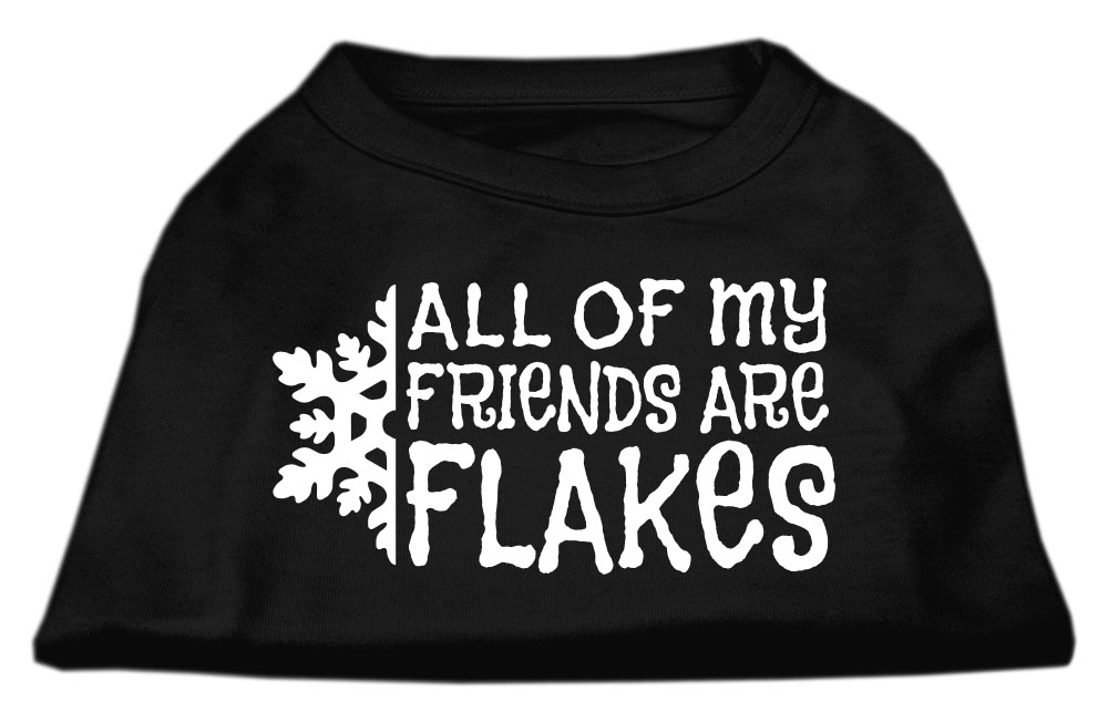 All my friends are Flakes Screen Print Shirt Black L (14)