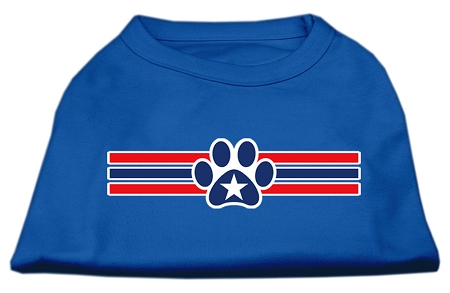 Patriotic Star Paw Screen Print Shirts Blue Sm (10)