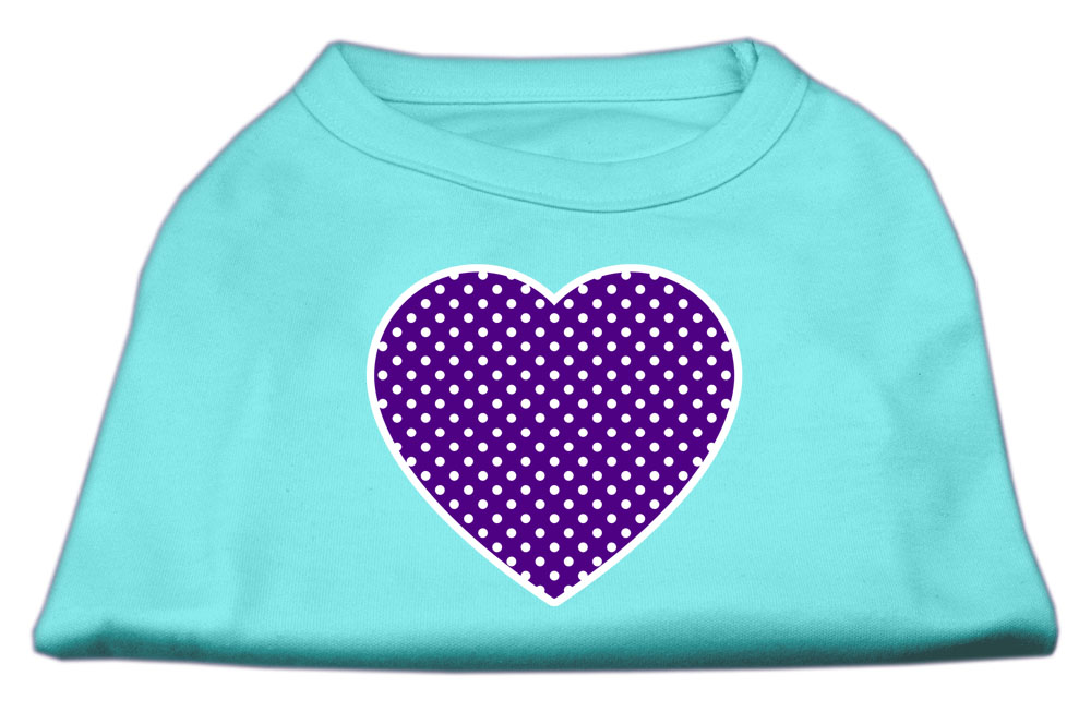 Purple Swiss Dot Heart Screen Print Shirt Aqua XXXL (20)