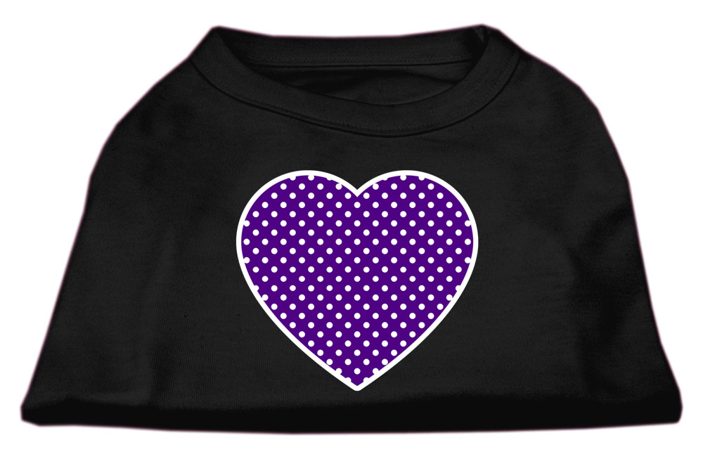Purple Swiss Dot Heart Screen Print Shirt Black XXL (18)