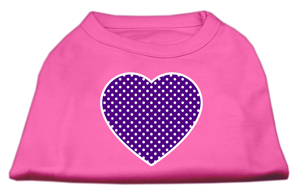 Purple Swiss Dot Heart Screen Print Shirt Bright Pink Sm (10)
