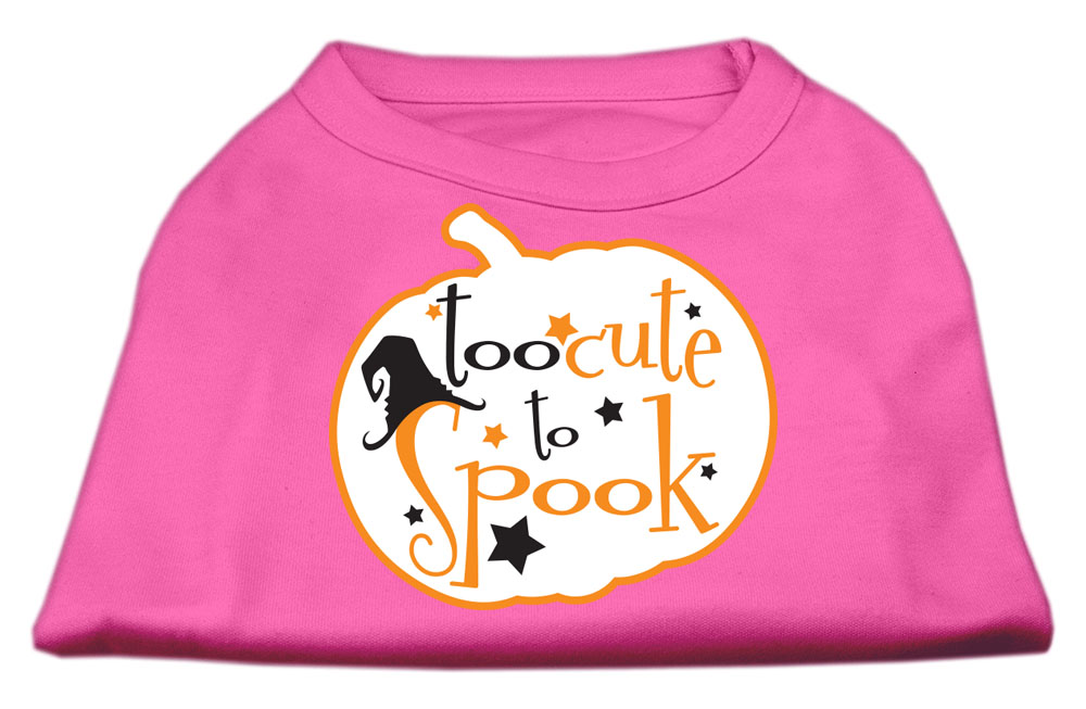 Too Cute to Spook Screen Print Dog Shirt Bright Pink XS (8)