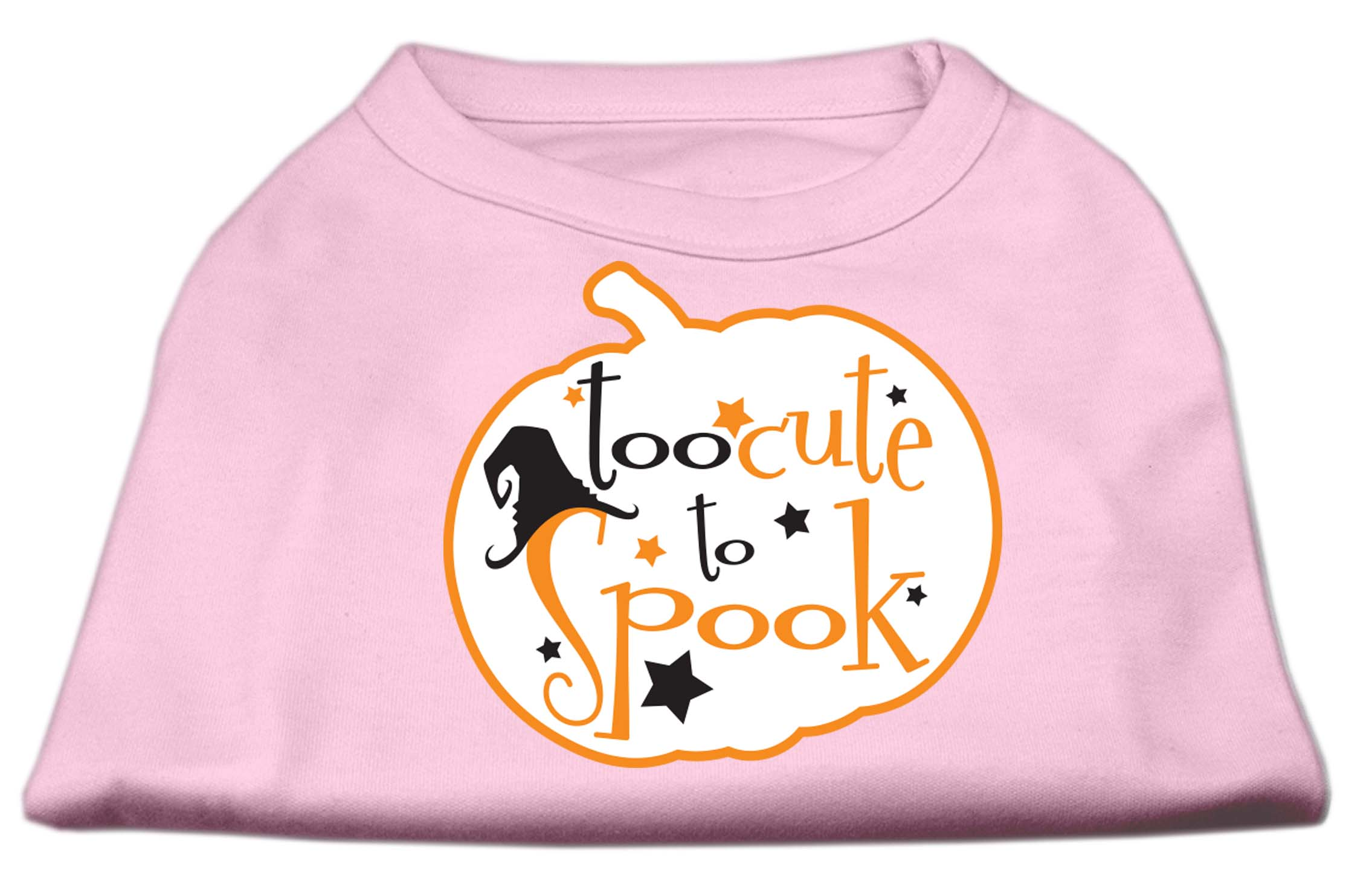 Too Cute to Spook Screen Print Dog Shirt Light Pink XS (8)