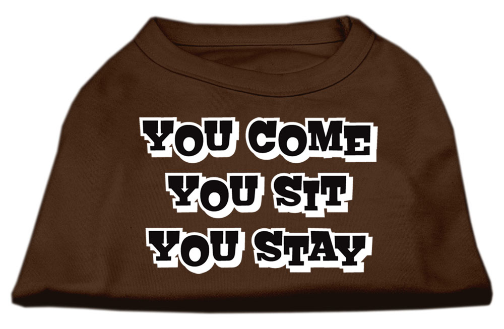 You Come, You Sit, You Stay Screen Print Shirts Brown Med (12)