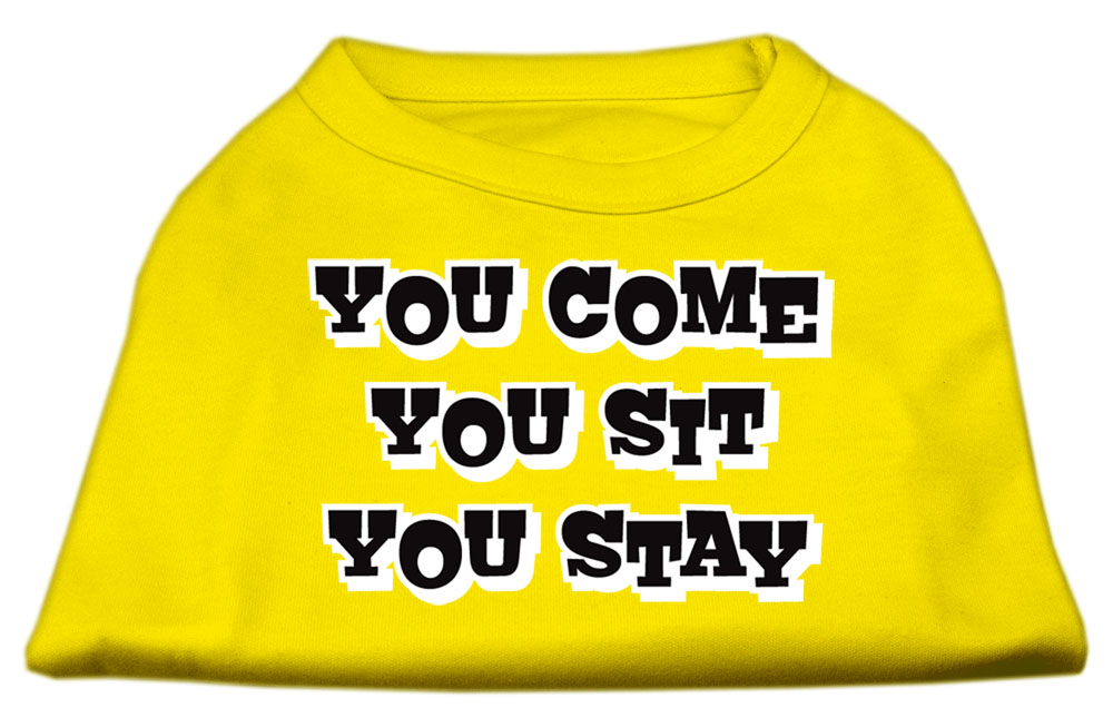 You Come, You Sit, You Stay Screen Print Shirts Yellow Med (12)