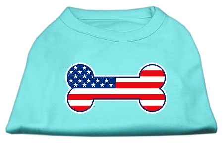 Bone Shaped American Flag Screen Print Shirts  Aqua XXXL(20)