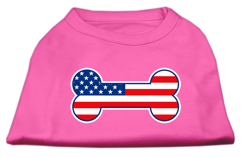 Bone Shaped American Flag Screen Print Shirts  Bright Pink XXL (18)