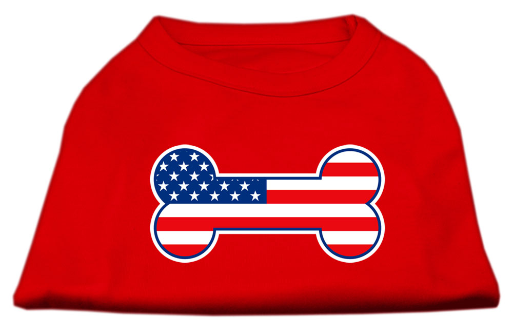 Bone Shaped American Flag Screen Print Shirts  Red XXXL(20)