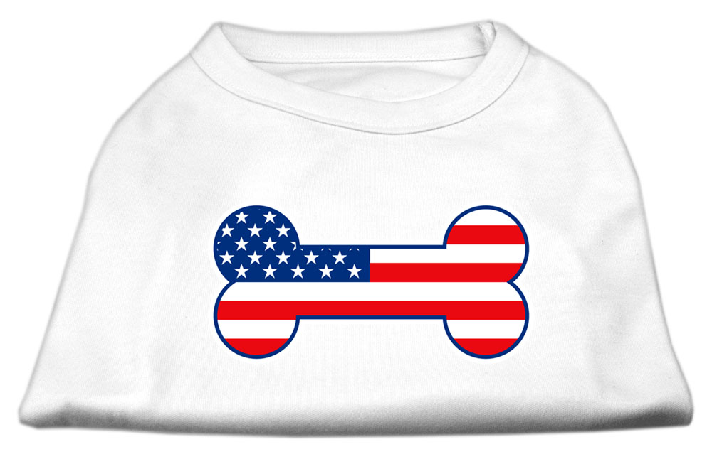 Bone Shaped American Flag Screen Print Shirts  White XXXL(20)