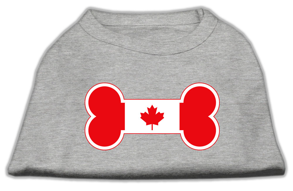 Bone Shaped Canadian Flag Screen Print Shirts Grey XS (8)