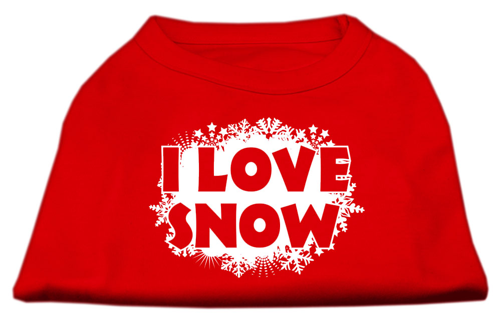 I Love Snow Screenprint Shirts Red M (12)