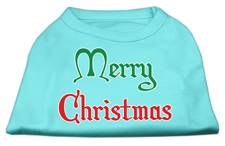 Merry Christmas Screen Print Shirt Aqua Sm (10)
