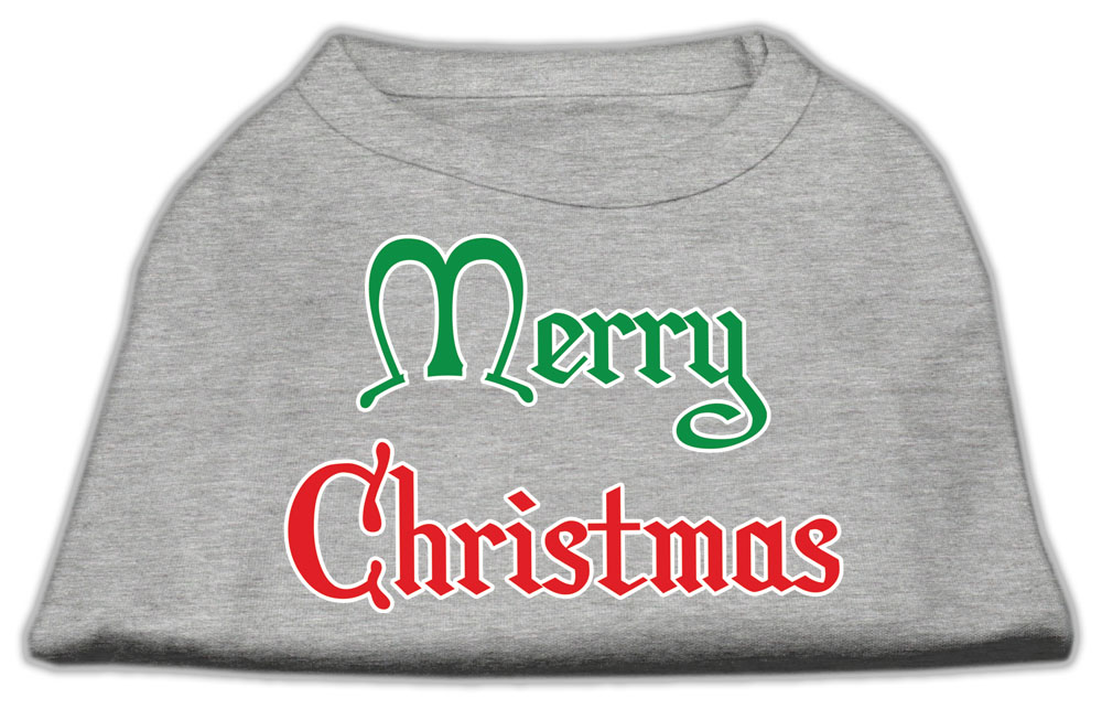 Merry Christmas Screen Print Shirt Grey Sm (10)